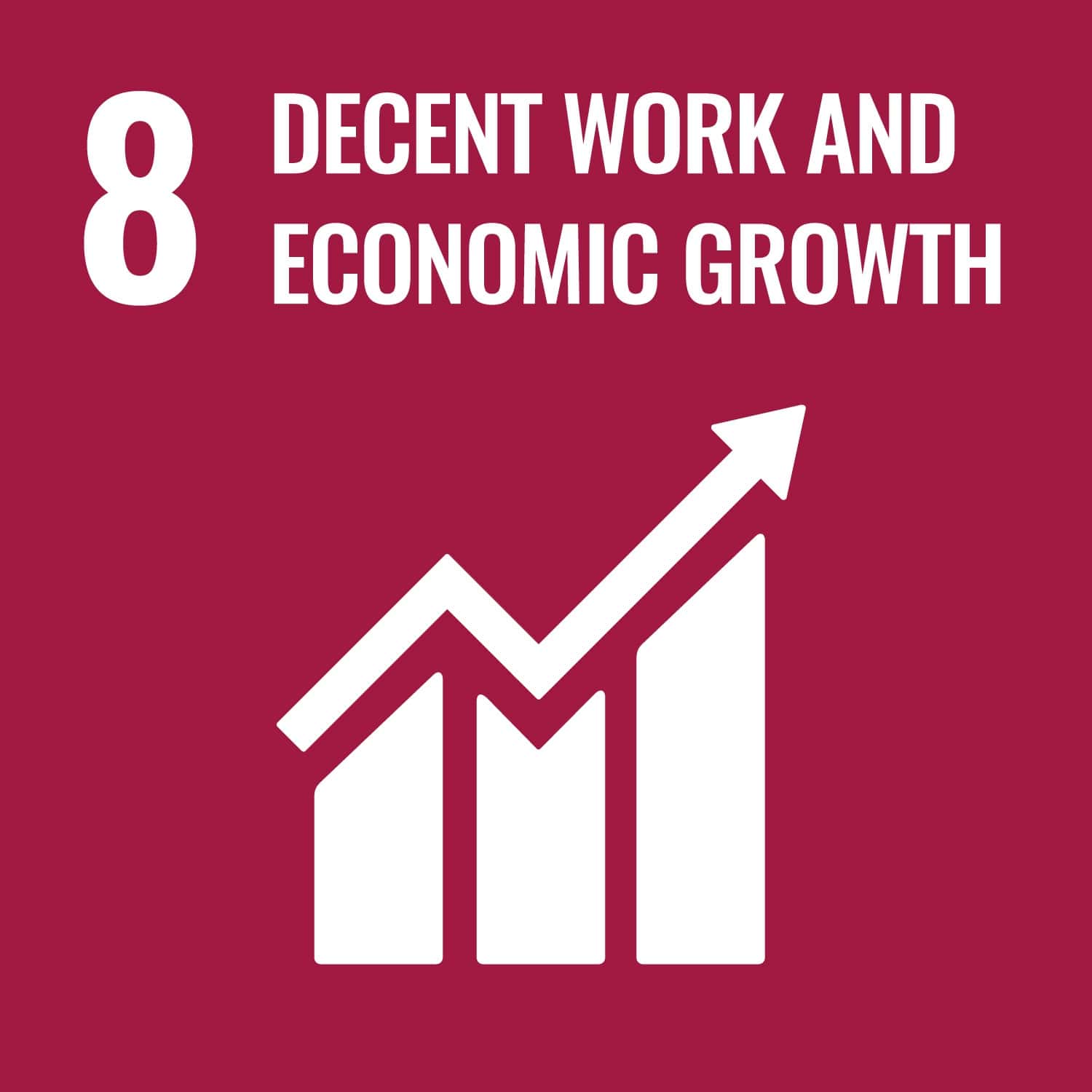 UN logo for decent work and economic growth