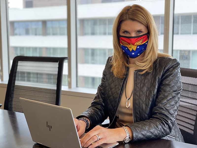 Heather Dixon wearing her Wonder Woman face mask