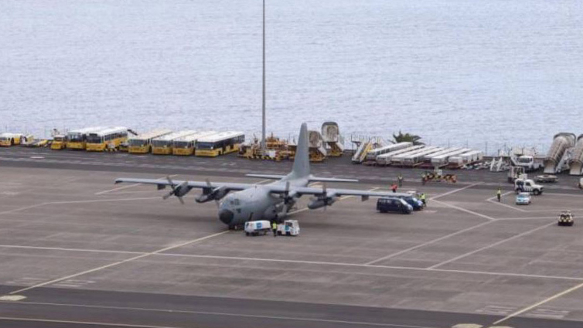 Military plane with donations at the Portuguese Islands