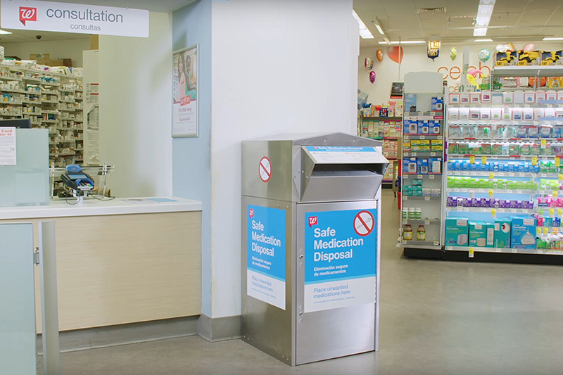 Safe medication disposal kiosk in Walgreens drugstore
