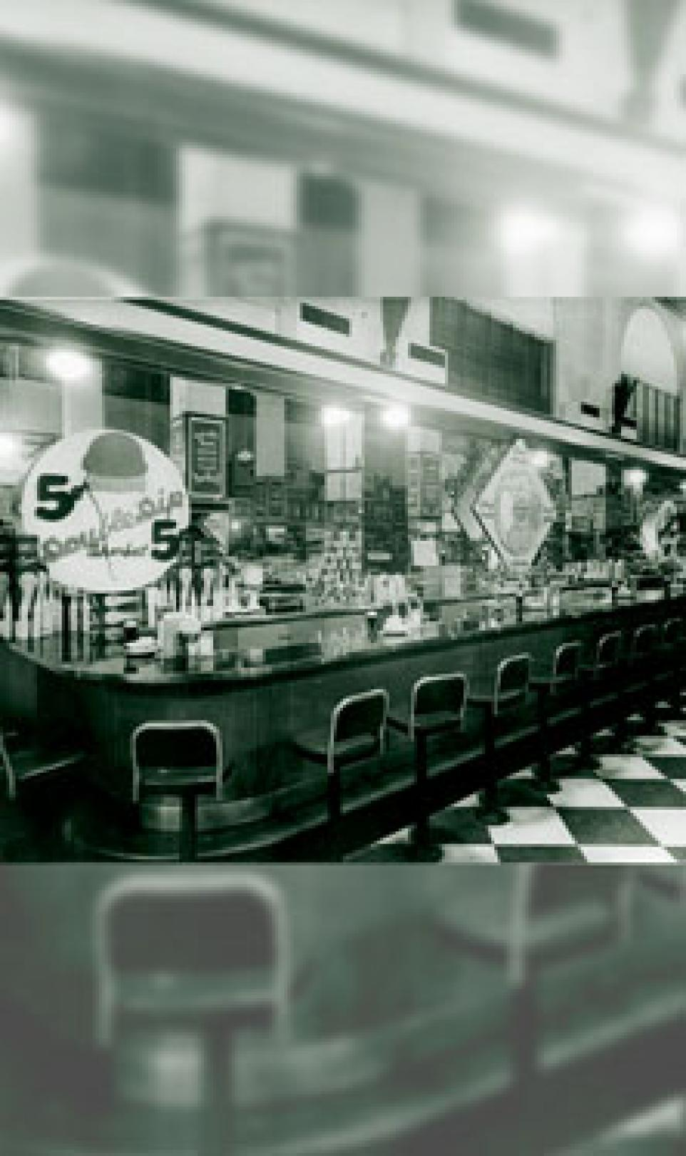 Photo of the inside of a diner, serving the Walgreens malted milkshake