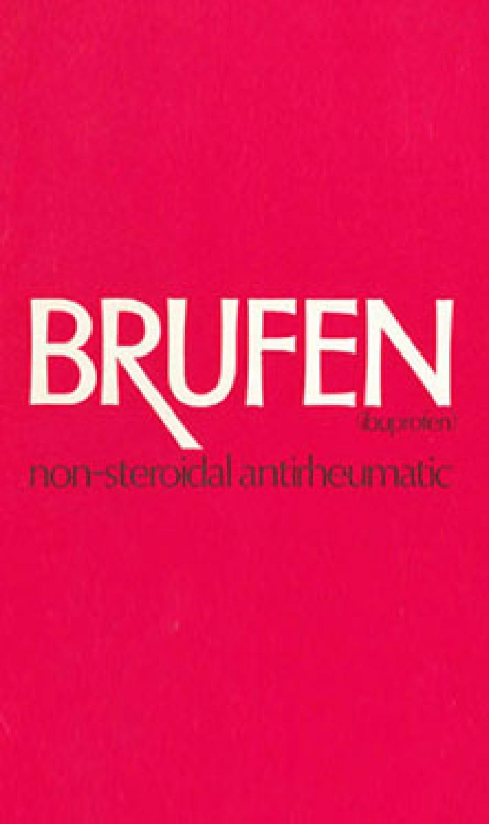 Picture of the red and white Ibuprofen (Brufen) packaging when it first launched in the UK