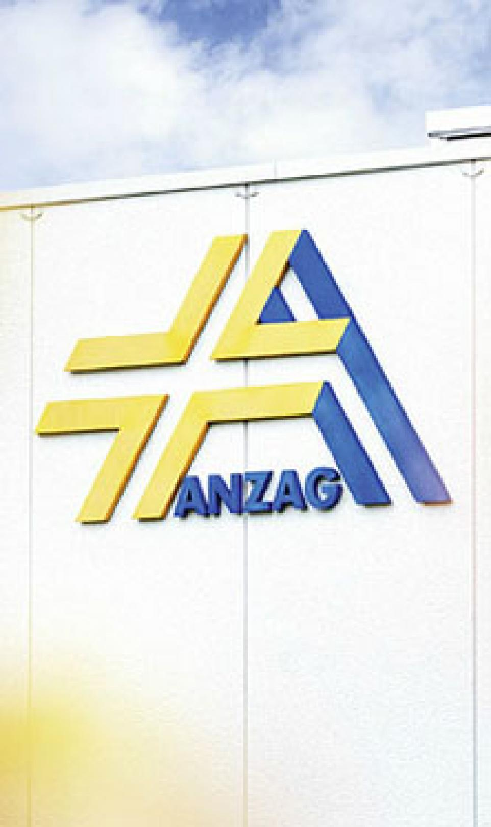 Close-up photograph of the Anzag logo on the headquarters building in Germany