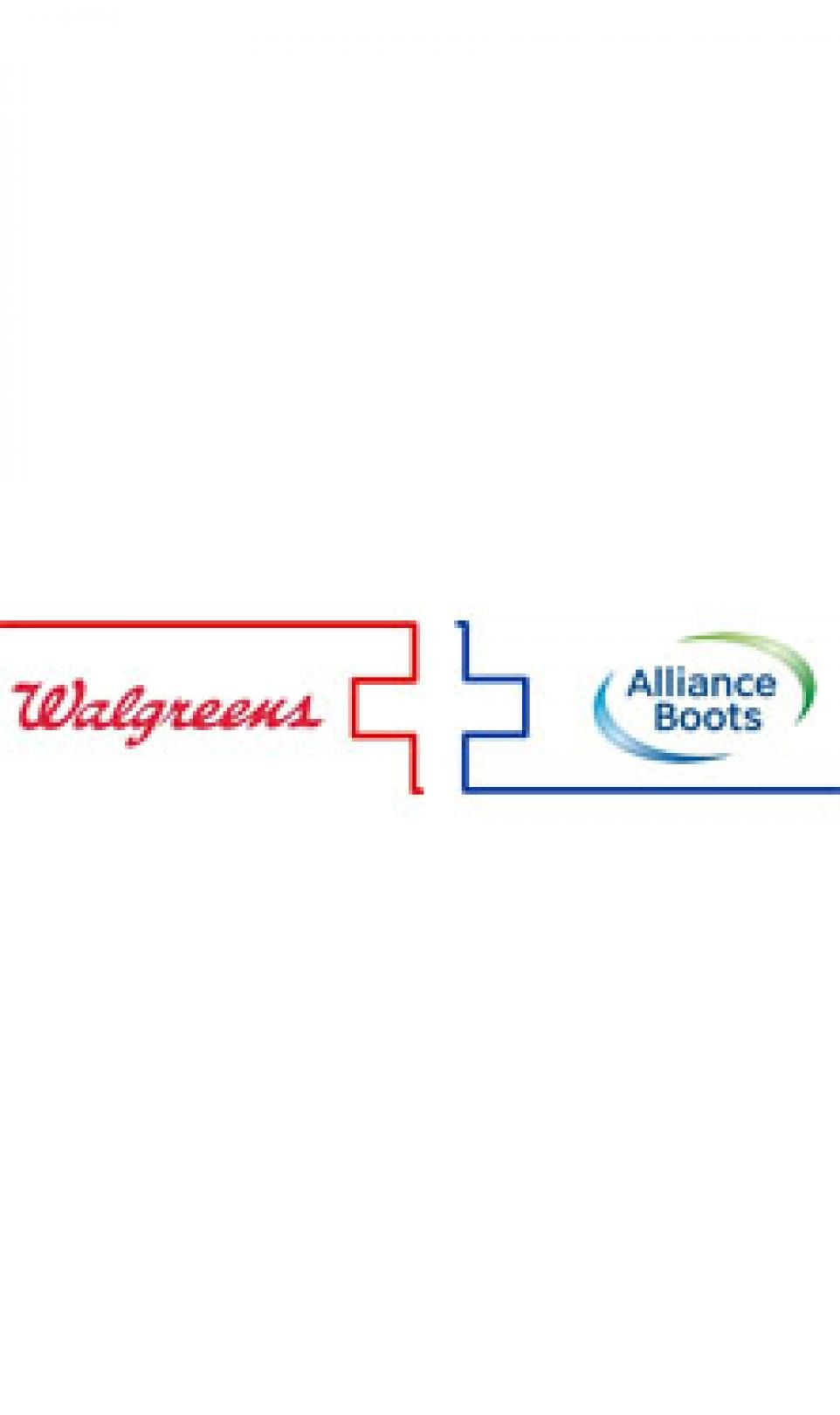 The red Walgreens logo and the blue Alliance Boots logo, pictured side-by-side on a white background