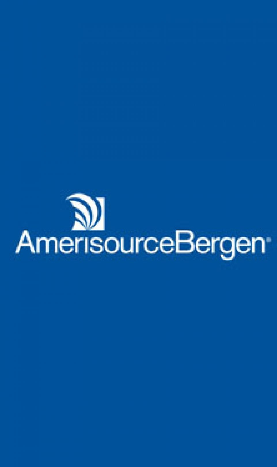 White AmerisourceBergen logo pictured on a blue background