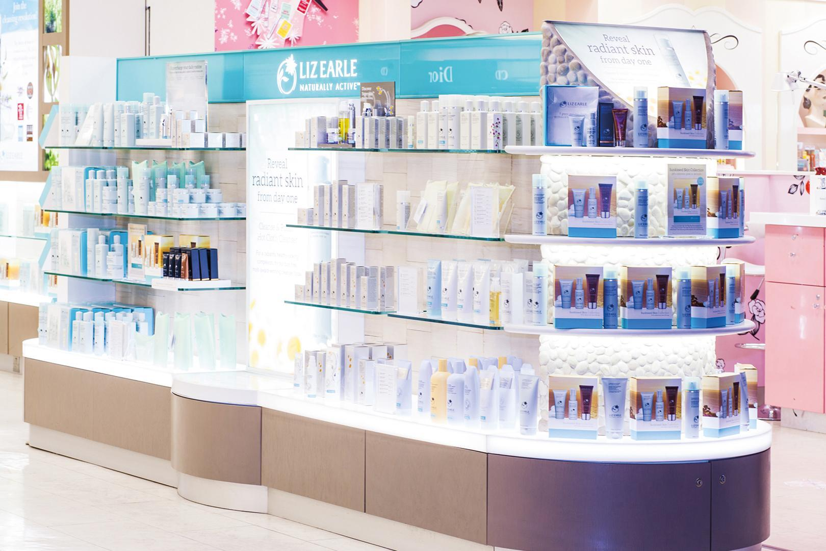 Liz Earle cosmetic product stand