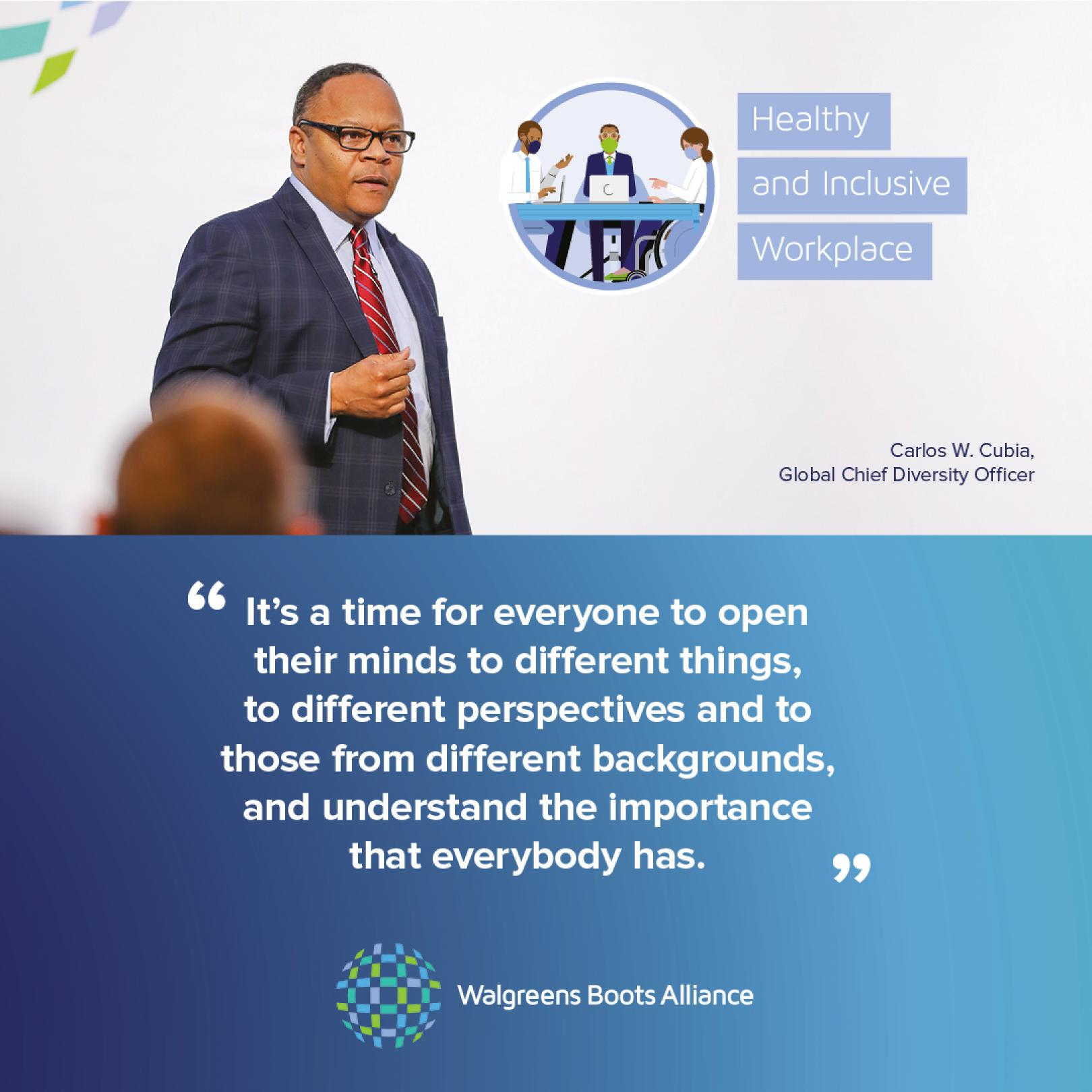 Carlos Cubia, Global Chief Diversity Officer, WBA quote card Instagram